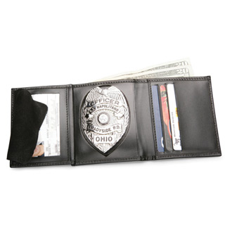 Galls Tri-Fold Leather Compact Size Badge Wallet