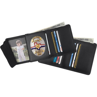Strong Tri Fold Compact Size Leather Badge Wallet with RFID