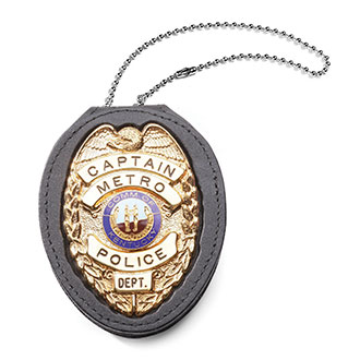 Perfect Fit Pocket Chain Recessed Badge Holder with Belt Cli