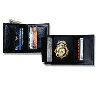 Strong Tri Fold Traditional Size Leather Badge Wallet with R