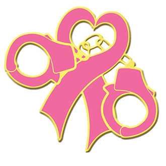 Galls Gold Plate Breast Cancer Awareness Heart Ribbon Lapel