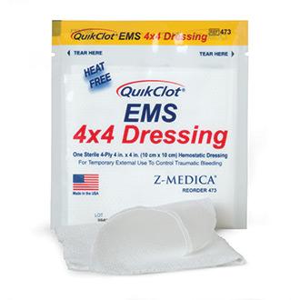 QuikClot EMS 4x4 Dressing (3 Pack)