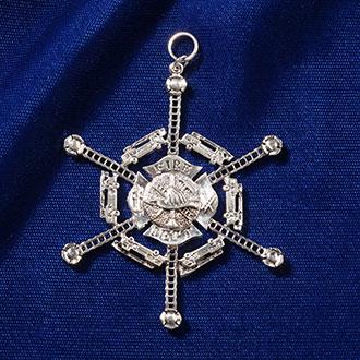 Quantum Jewelry Silver Fire Department Ornament