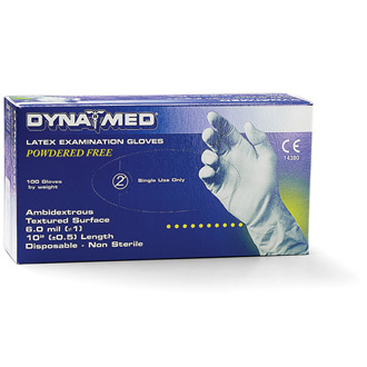 Dyna Med Latex Powder Free Exam Gloves