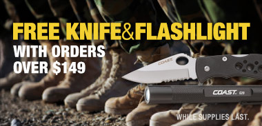 Free knife and flashlight
