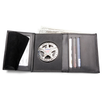 Galls Tri-fold Leather Badge Traditional Size Wallet