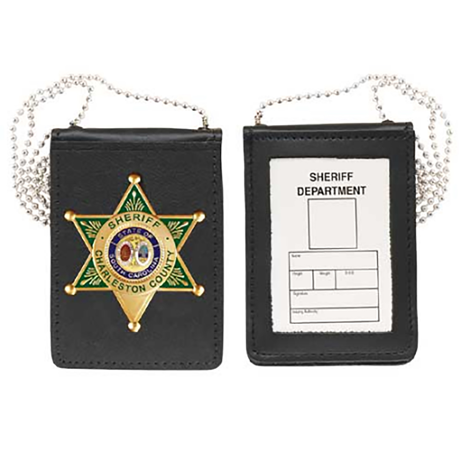 Strong Leather Recessed Magnetic Badge and ID Neck Holder wi