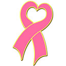 Blackinton Gold Plate Breast Cancer Awareness Heart Ribbon Lapel Pin