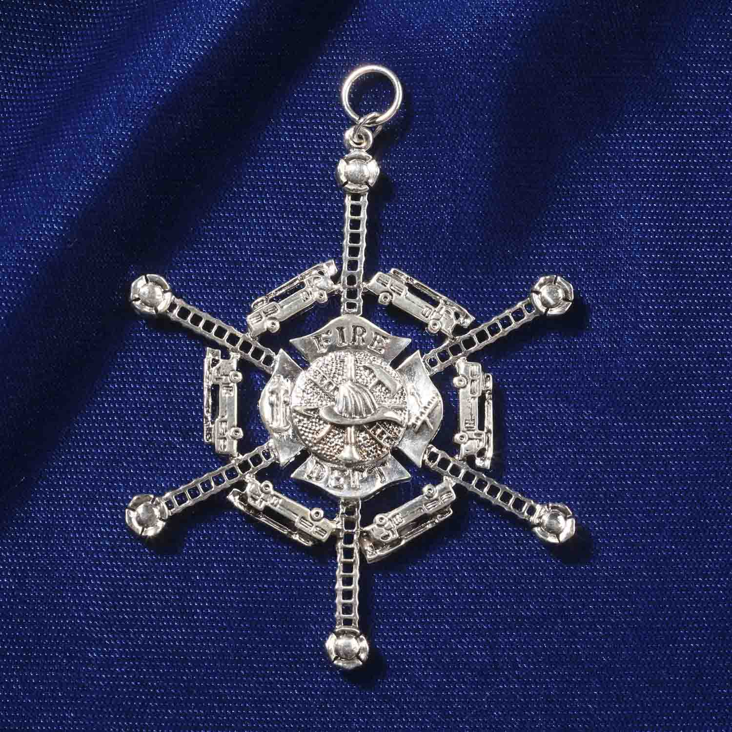 Quantum Jewelry Silver Fire Department Ornament