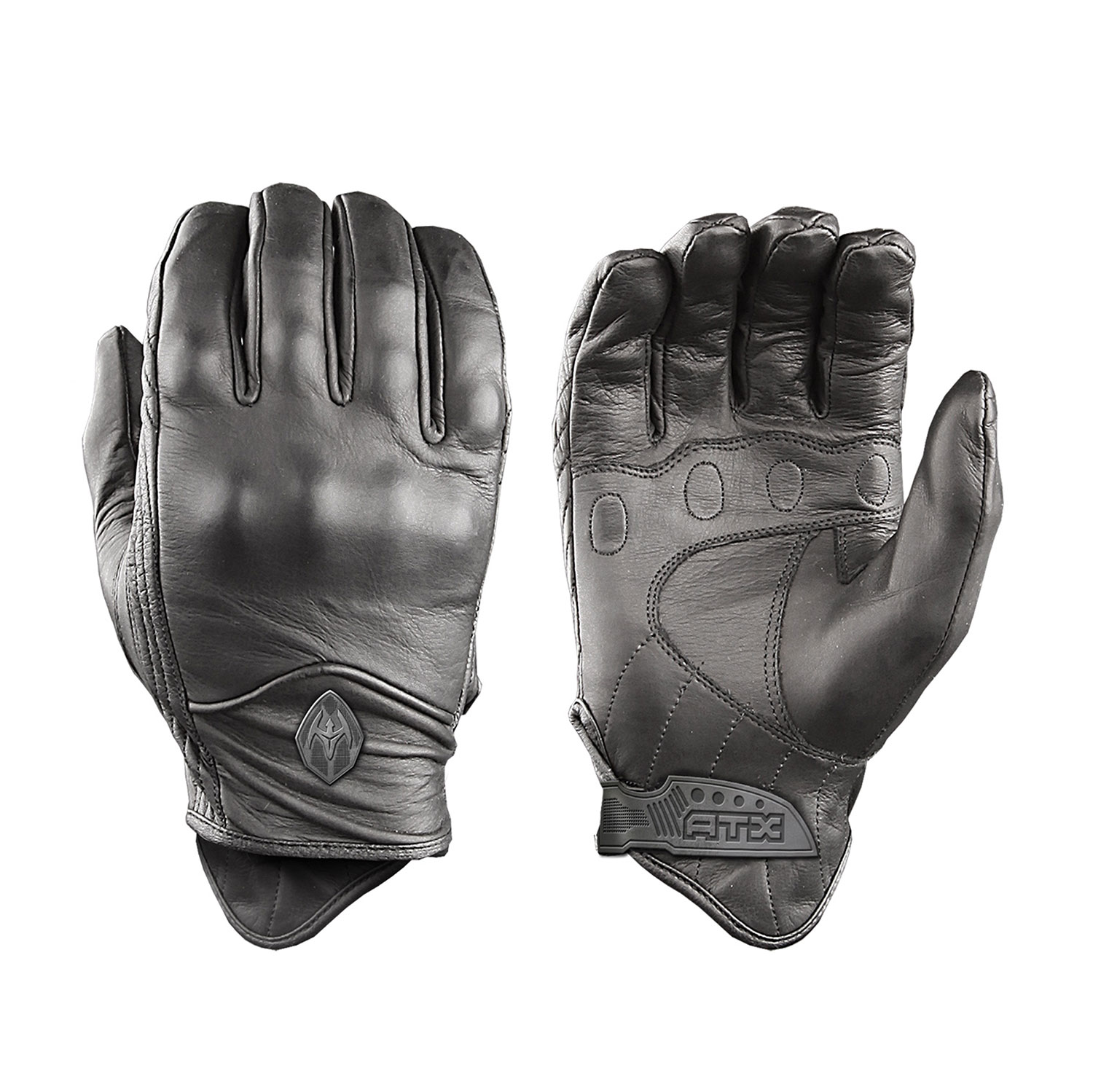 Xs black leather gloves - Damascus All Leather Gloves With Knuckle Armor