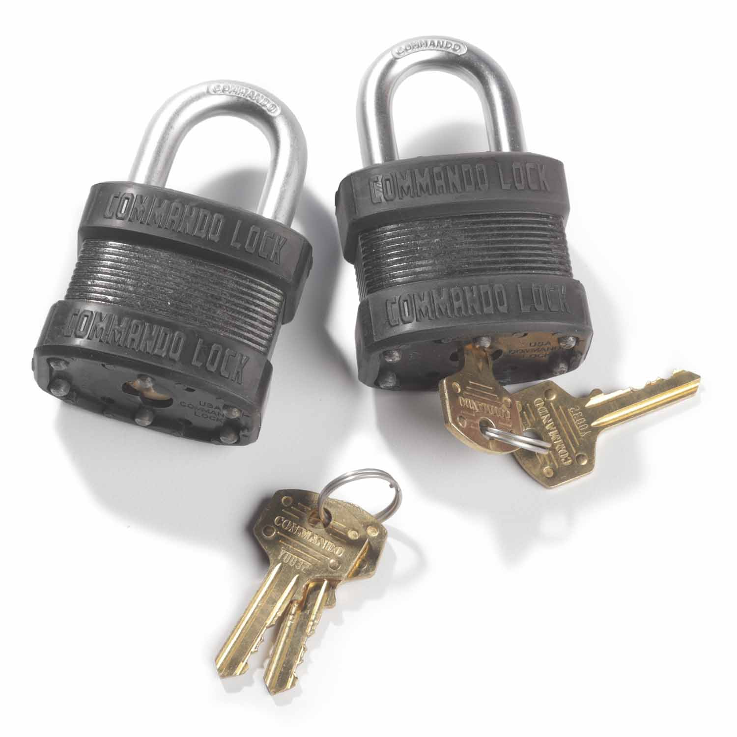 "Commando Lock Steel Laminated ""Black Out"" Padlock (2 Pack)"