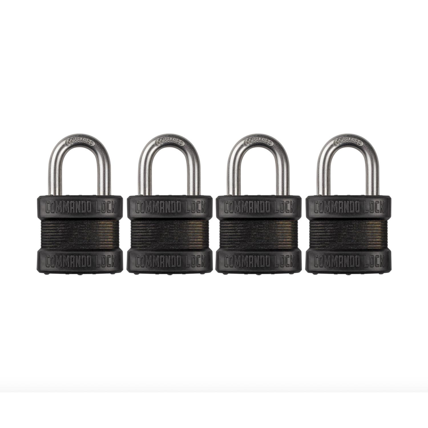 "Commando Lock Steel Laminated ""Black Out"" Padlock (4 Pack)"