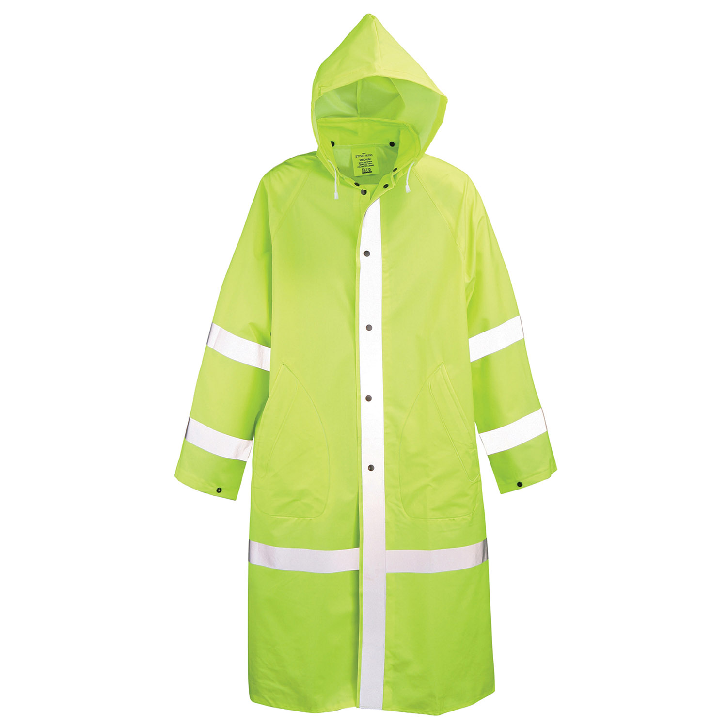 "Neese Lime Green 48"" PVC Vinyl Raincoat with Reflective"