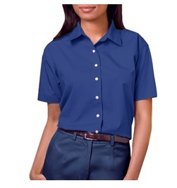 Blue Generation Ladies Short Sleeve Stain Release Poplin