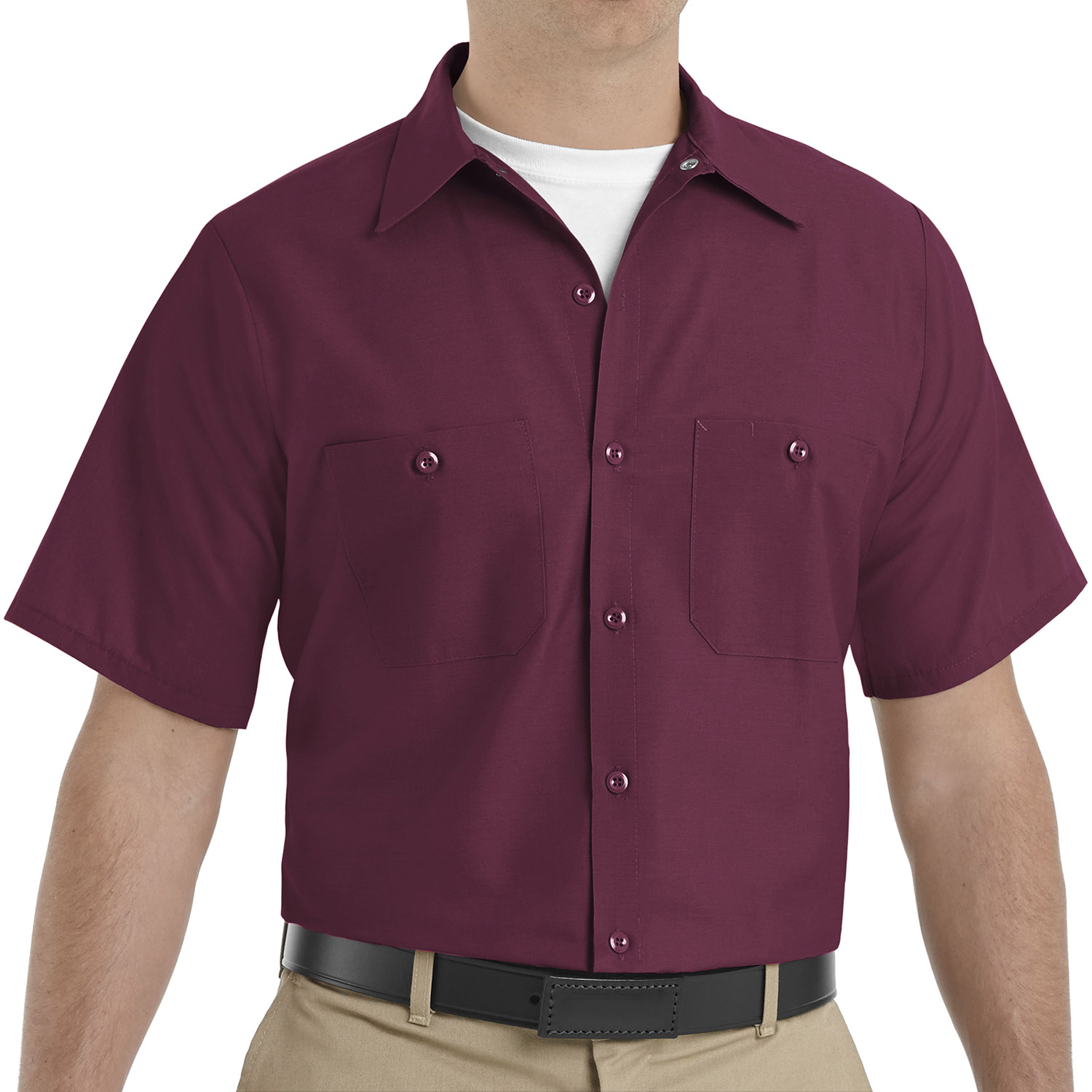 Red kap mens industrial short sleeve work shirt at galls for Short sleeved shirts for men