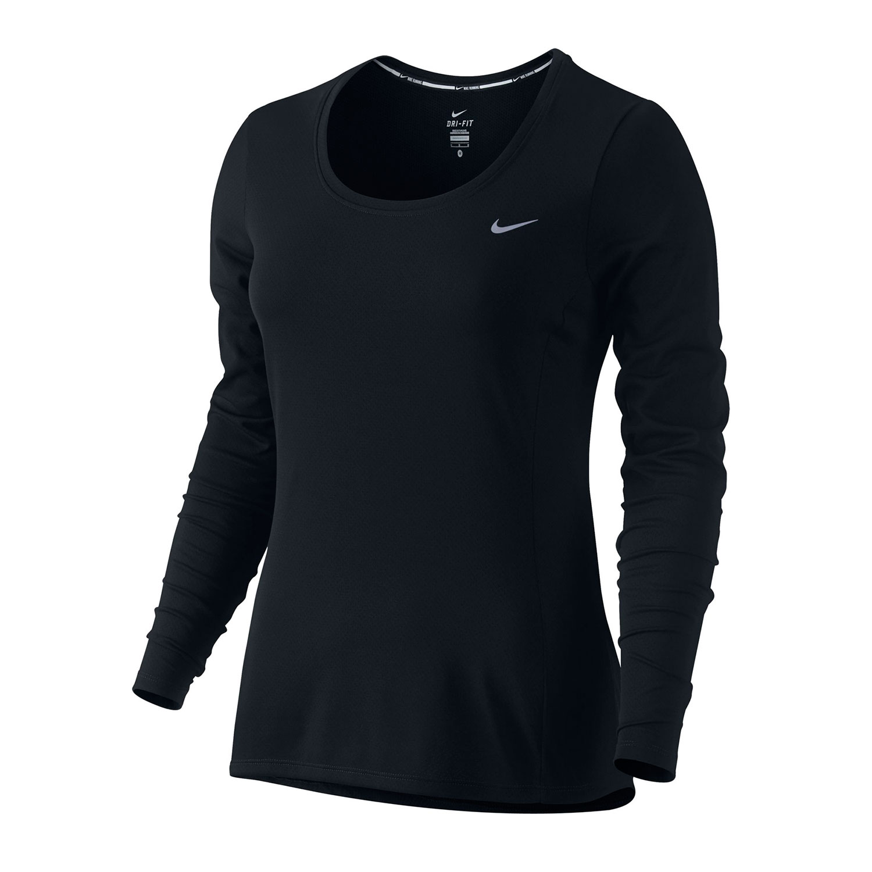 Nike womens dri fit long sleeve running shirt for Women s running shirt