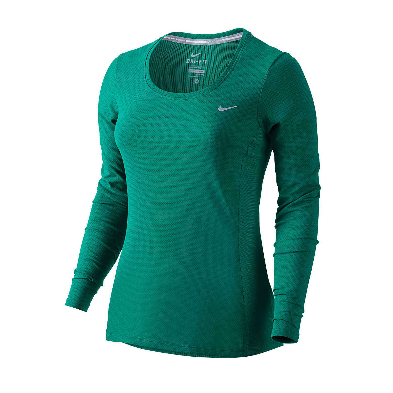 Nike womens dri fit long sleeve running shirt for Long sleeve running shirt womens